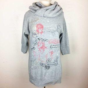 Desigual Sweatshirt Graffiti Dress Cowl Neck L